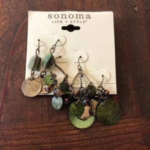 3 pairs of green and bronze earrings